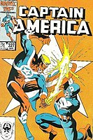 John Walker as Super-Patriot. Cover of Captain America #327 (March 1987). Art by Mike Zeck and Bob McLeod.