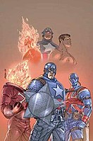 Clockwise from top left: Human Torch (Jim Hammond), Captain America, Sub-Mariner, Union Jack (Joseph Chapman), U.S. Agent, and Blazing Skull on the cover to New Invaders #1, with art by Scott Kolins.