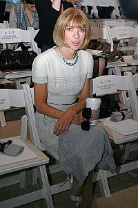 Wintour (photographed by Ed Kavishe of Fashion Wire Press) often insists on being seated apart from other fashion editors at shows.