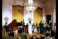 Dizzy Gillespie and Sarah Vaughan perform at the White House in honor of the Shah of Iran on November 15, 1977.