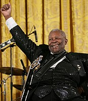"""Blues legend B.B. King with his guitar, """"Lucille"""""""