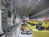 Inside the turbine hall at the Glen Canyon Power Plant