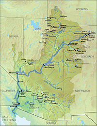 Map showing locations of major dams in the Colorado River Basin, with Glen Canyon near the center of the basin.
