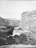 Echo Park, looking south with the Yampa River (left) joining the Green River. The USBR proposed damming the Green a short distance downstream, behind the large cliff (Steamboat Rock) at right.
