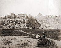An 1881 photo showing the ruined Old Kandahar citadel of Shah Hussain Hotak that was destroyed by the Afsharid forces of Nader Shah in 1738. This destroyed fortress is still standing today.
