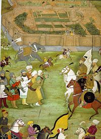 A miniature from Padshahnama depicting the surrender of the Shi'a Safavid garrison at what is now Old Kandahar in 1638 to the Mughal army of Shah Jahan commanded by Kilij Khan.