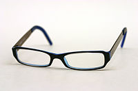 DKNY glasses with a black outer frame and blue inside the frame.