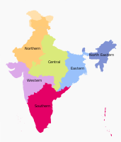 States under Northern India Zonal Council in orange