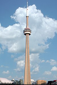The CN Tower in Toronto, Ontario, was the world's tallest freestanding structure from 1975 to 2007.