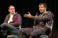 Trey Parker (left) and Matt Stone (right) created the show and currently voice the majority of the male characters on the show.