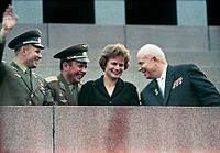 From left to right: Yuri Gagarin, Pavel Popovich, Valentina Tereshkova and Nikita Khrushchev at the Lenin's Mausoleum in 1963