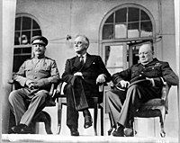 From left to right, the Soviet General Secretary Joseph Stalin, US President Franklin D. Roosevelt and British Prime Minister Winston Churchill confer in Tehran, 1943