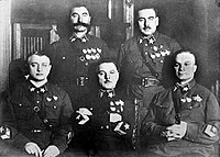 Five Marshals of the Soviet Union in 1935. Only two of them – Budyonny and Voroshilov – survived Great Purge. Blyukher, Yegorov and Tukhachevsky were executed.