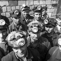 Workers of the Salihorsk potash plant, Belarus, 1968