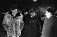 Gerald Ford, Andrei Gromyko, Leonid Brezhnev and Henry Kissinger speaking informally at the Vladivostok Summit in 1974
