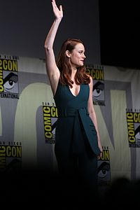 Brie Larson at the 2016 San Diego Comic-Con after being announced in the role of Captain Marvel