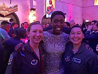 Lashana Lynch with airmen of the 311th Fighter Squadron at the Hollywood premiere of Captain Marvel