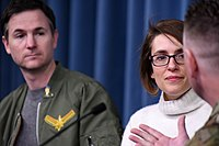 Directors Ryan Fleck and Anna Boden speaking at The Pentagon in March 2019