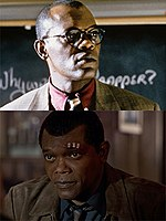 Jackson in One Eight Seven (top) and in Captain Marvel (bottom). One Eight Seven (1997) was used as a primary reference to de-age Jackson in Captain Marvel, which is set in 1995.