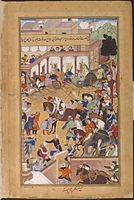 Akbar returns from war to be greeted by Salim and other sons in 1573