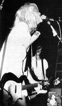 Erlandson (right) performing with Courtney Love in Hole, c.undefined 1989