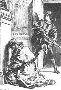 Freud suggested that an unconscious Oedipal conflict caused Hamlet's hesitations (artist: Eugène Delacroix 1844).