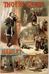 A poster, c.1884, for an American production of Hamlet (starring Thomas W. Keene), showing several of the key scenes