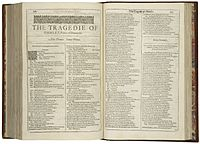 The first page of the First Folio printing of Hamlet, 1623