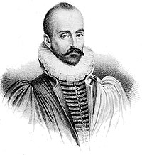 Philosophical ideas in Hamlet are similar to those of the French writer Michel de Montaigne, a contemporary of Shakespeare's (artist: Thomas de Leu, fl. 1560–1612).