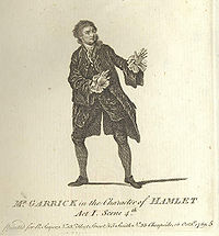 David Garrick expresses Hamlet's shock at his first sighting of the ghost (artist: unknown).