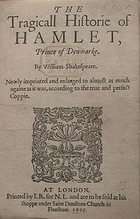 Title page of the 1605 printing (Q2) of Hamlet