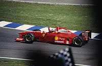Michael Schumacher at the 1997 German Grand Prix during his second year with Ferrari