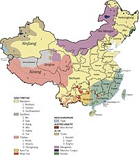 1990 map of Chinese ethnolinguistic groups