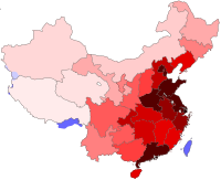 A 2009 population density map of the People's Republic of China and Taiwan. The eastern coastal provinces are much more densely populated than the western interior.
