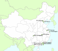 Map of the ten largest cities in China (2010)