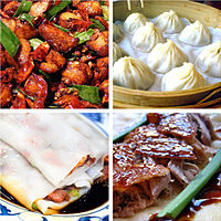 Foods from different regional cuisines: laziji from Sichuan cuisine; xiaolongbao from Jiangsu cuisine; rice noodle roll from Cantonese cuisine; and Peking duck from Shandong cuisine