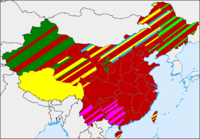 Geographic distribution of religions in China.    Chinese folk religion (and Confucianism, Taoism, and groups of Chinese Buddhism)  Buddhism tout court  Islam  Ethnic minorities' indigenous religions  Mongolian folk religion  Northeast China folk religion influenced by Tungus and Manchu shamanism, widespread Shanrendao