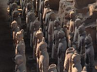 The Terracotta Army discovered outside the Mausoleum of the First Qin Emperor, now Xi'an