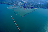 Aerial view of the harbor at Lorain, Ohio. View is to the southeast.