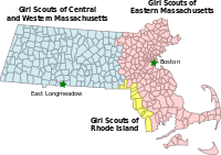 Map of Girl Scout councils in Massachusetts