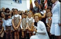Betty Ford with Girl Scouts
