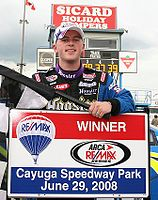 Allgaier in victory lane after winning the ARCA race at Cayuga in 2008, one of his six wins that year en route to the title