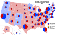 Results by vote distribution among states. The size of each state's pie chart is proportional to its number of electoral votes.