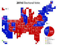 A discretized cartogram of the 2016 United States presidential election using squares