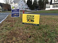Campaign signs of third-party candidates Jill Stein and Gary Johnson, October 2016 in St. Johnsbury, Vermont