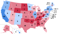 Results by state, shaded according to winning candidate's percentage of the vote