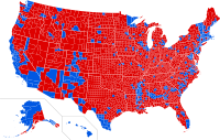 Results by county. Red denotes counties that went to Trump; blue denotes counties that went to Clinton.