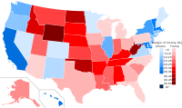 Results by state, shaded according to margin of victory