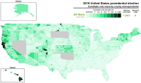 Results by county, shaded according to percentage of the vote for Jill Stein