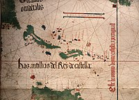 Top left, the shores of Florida and the future Carolina explored in 1500 and showed in 1502 on the Cantino planisphere